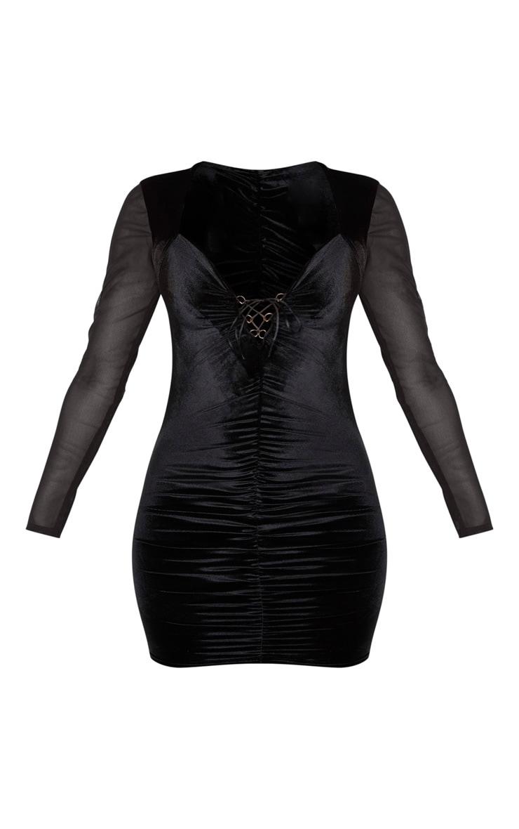Black Velvet Mesh Sleeve Tie Front Bodycon Dress 3