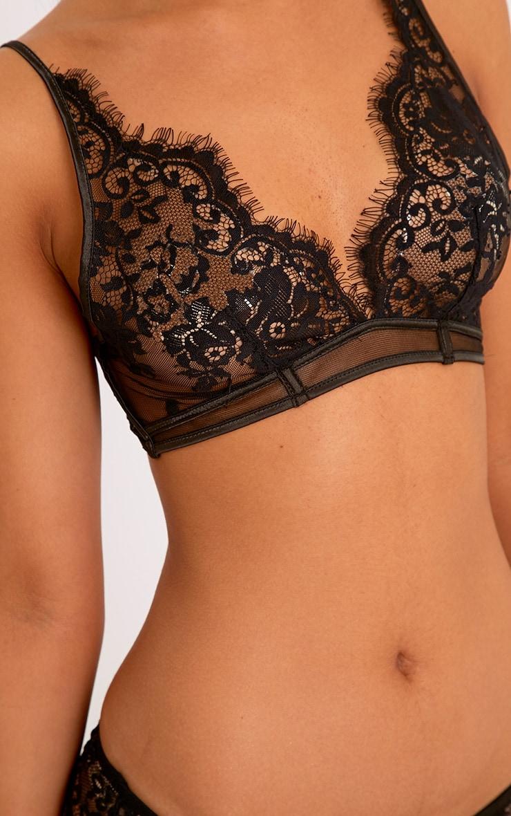 Wendy Black Sheer Lace Soft Bra 5