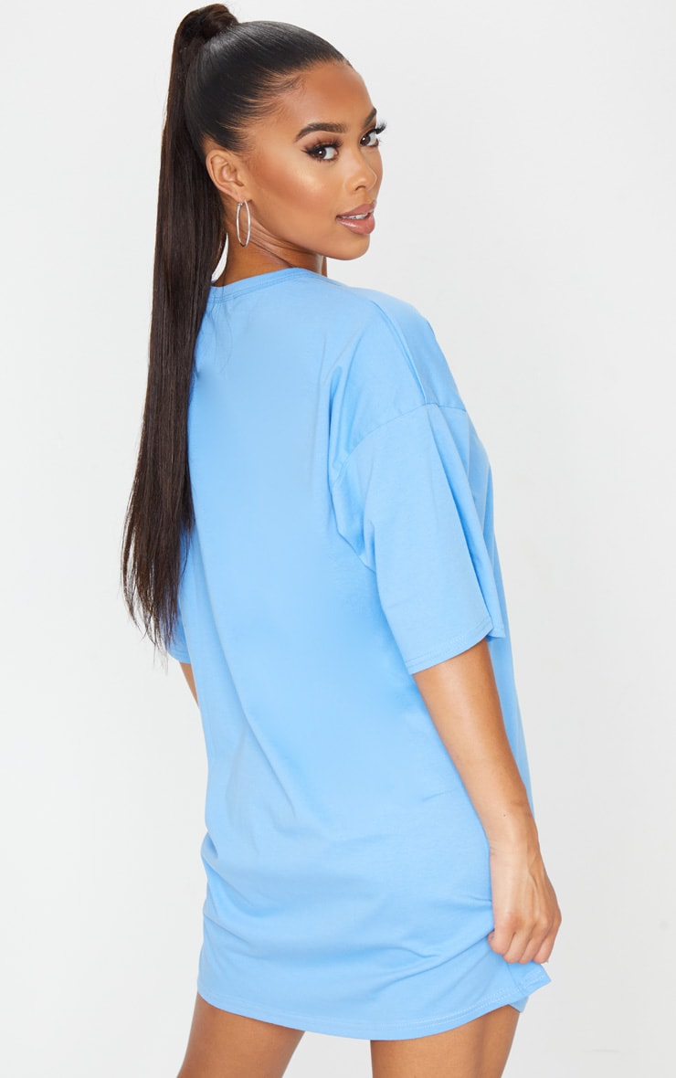 PRETTYLITTLETHING Sky Blue Slogan Oversized Boyfriend T Shirt Dress 2