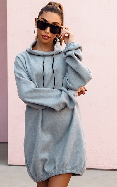 Grey Fleece Drawstring Neck Elastic Hem Jumper Dress