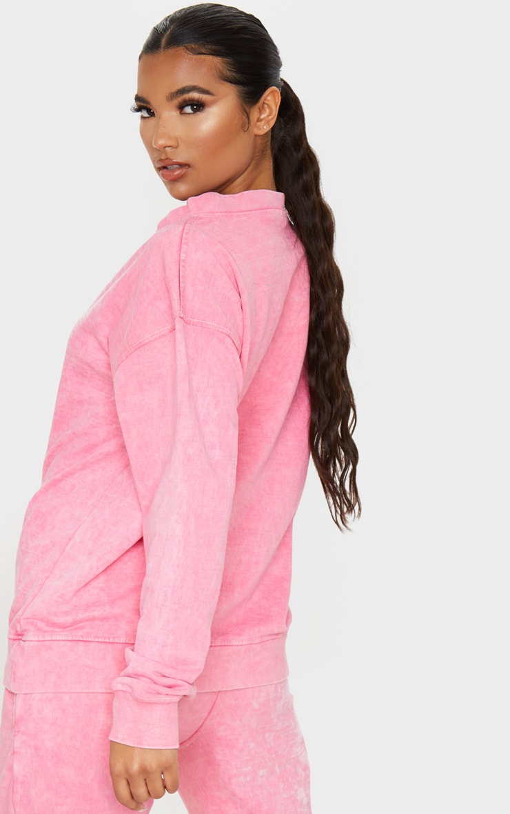 Light Pink V Neck Long Sleeve Washed Sweater 2