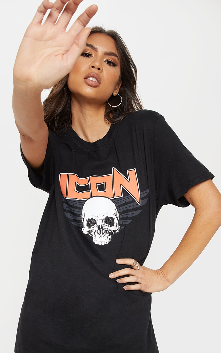 Black Icon Slogan Oversized T Shirt 5
