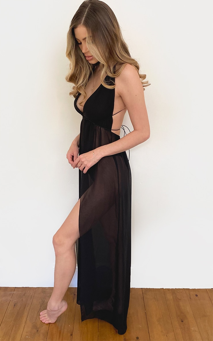 Black Chiffon Plunge Beach Dress 3