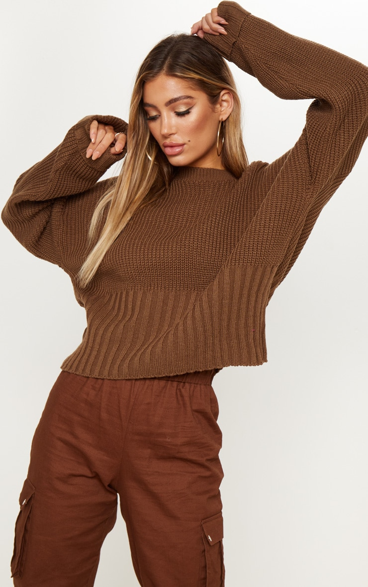 Brown Ribbed Hem Knitted Jumper  1