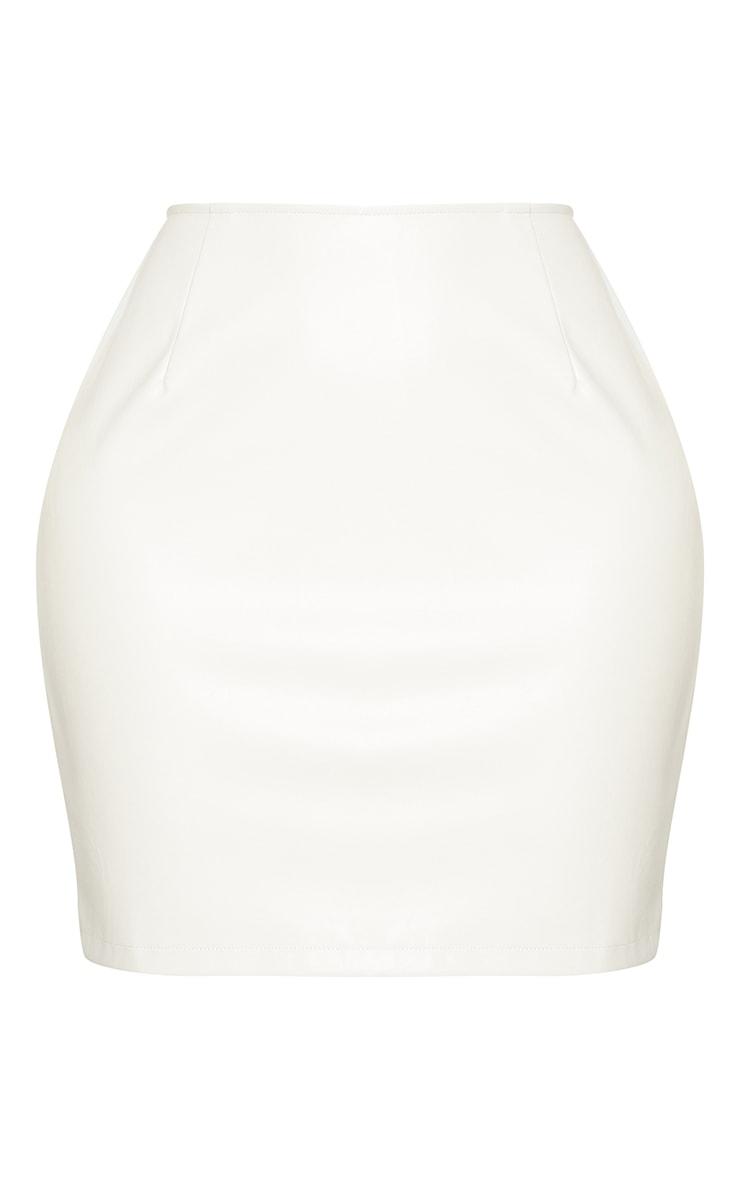 Shape Cream Faux Leather Bodycon Skirt 6