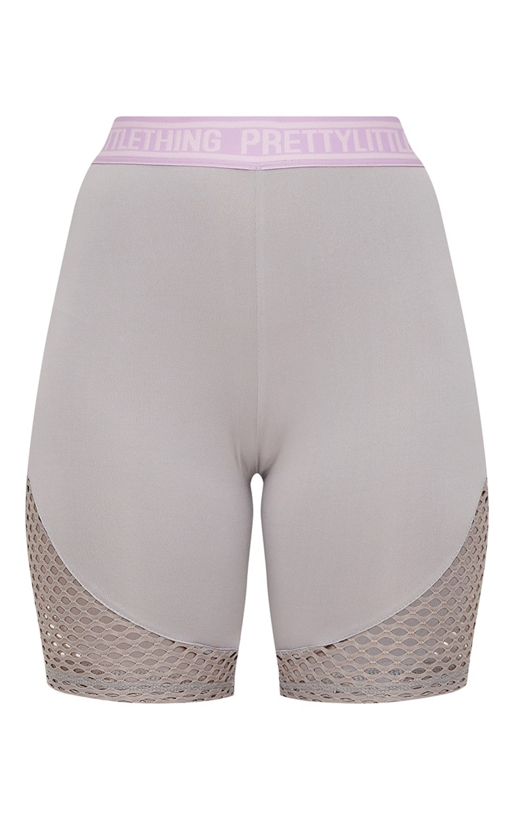 PRETTYLITTLETHING Grey Fishnet Panel Cycling Shorts 3