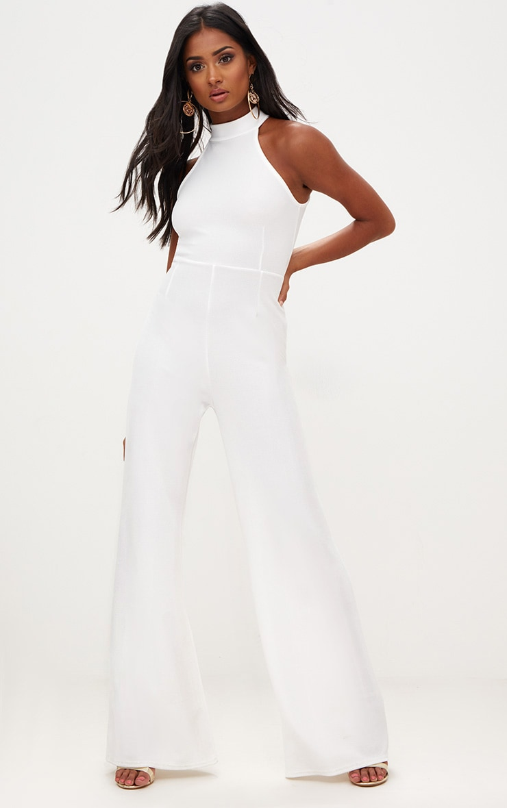 White Crepe High Neck Jumpsuit 1