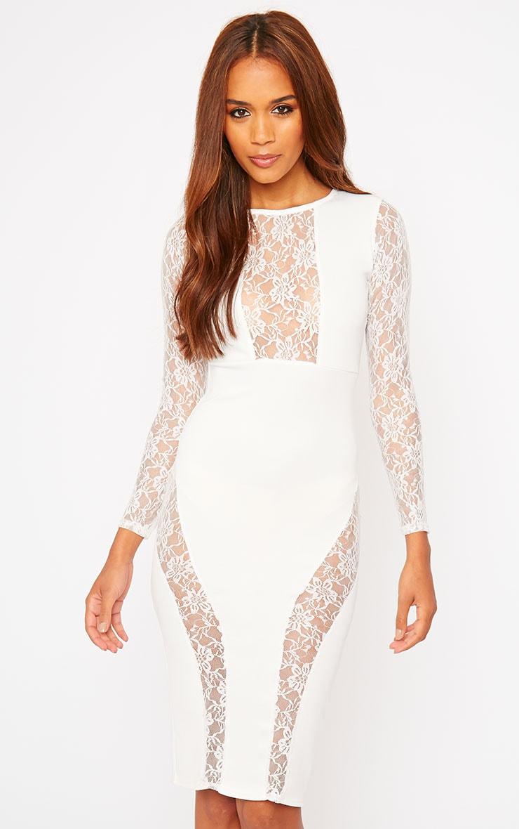 Perla Cream Lace Insert Dress 1