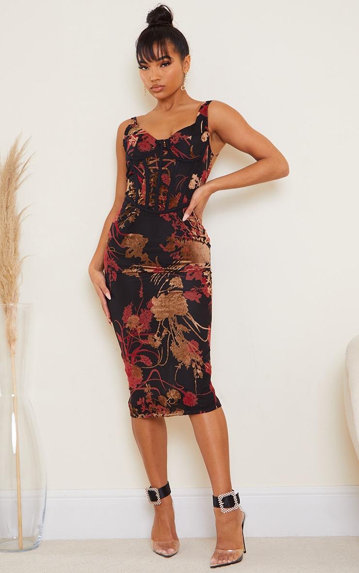 Multi Floral Flocked Sleeveless Corset Detail Midi Dress 1