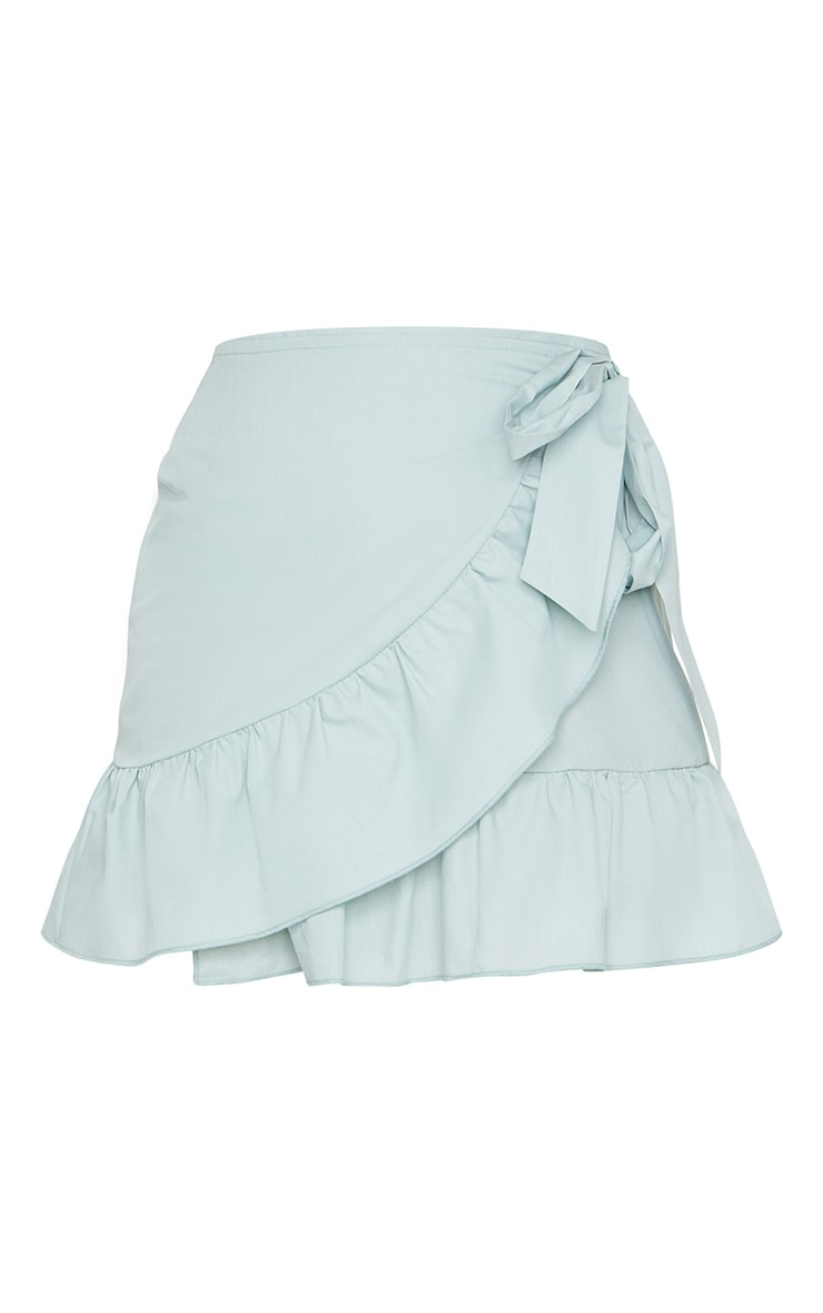 Petite Sage Green Frill Detail Woven Wrap Skirt 6