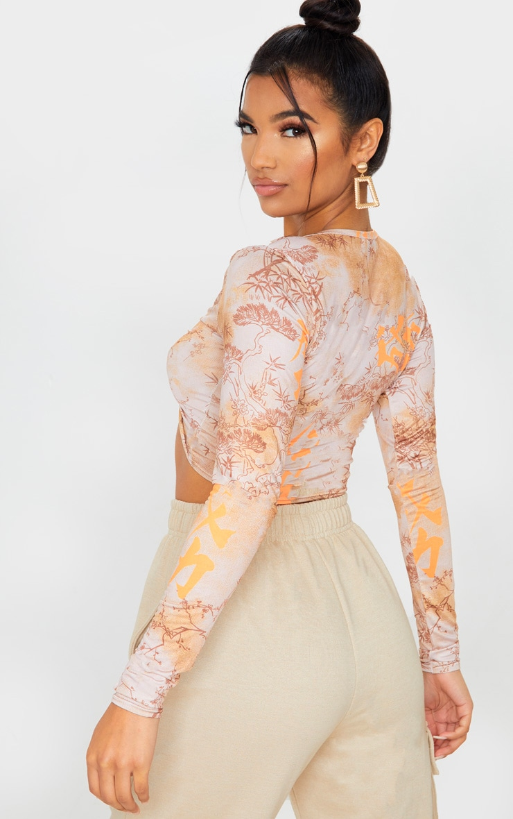 Orange Tie Dye Printed Twist Front Long Sleeve Crop Top 2