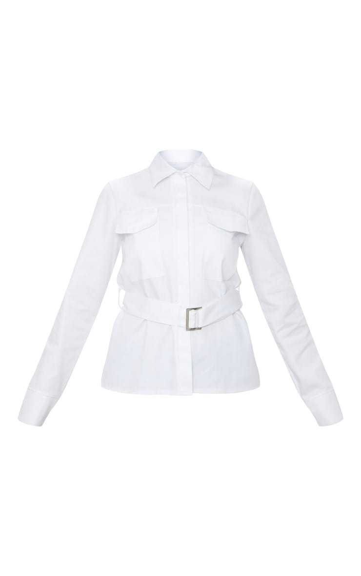White Military Buckle Pocket Detail Shirt  3