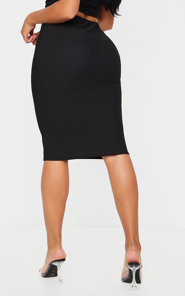 Shape Black Crinkle Rib High Waist Midi Skirt 3