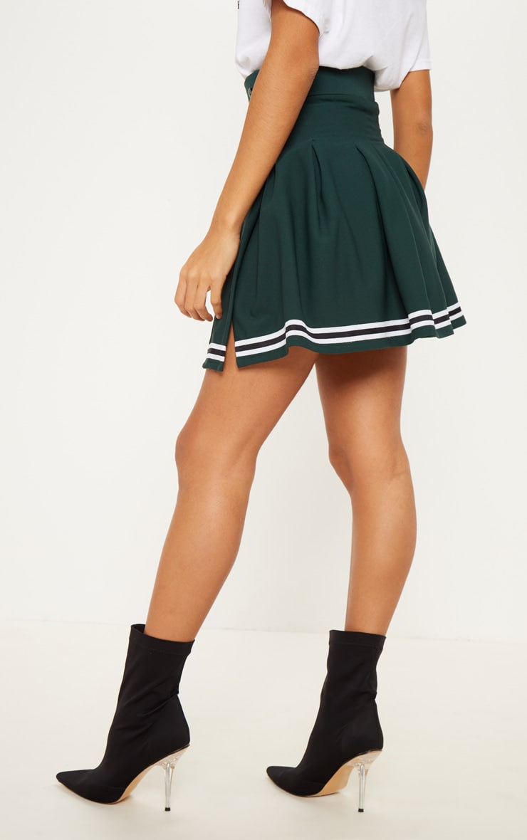 Green Contrast Track Stripe Pleated Tennis Skirt 4