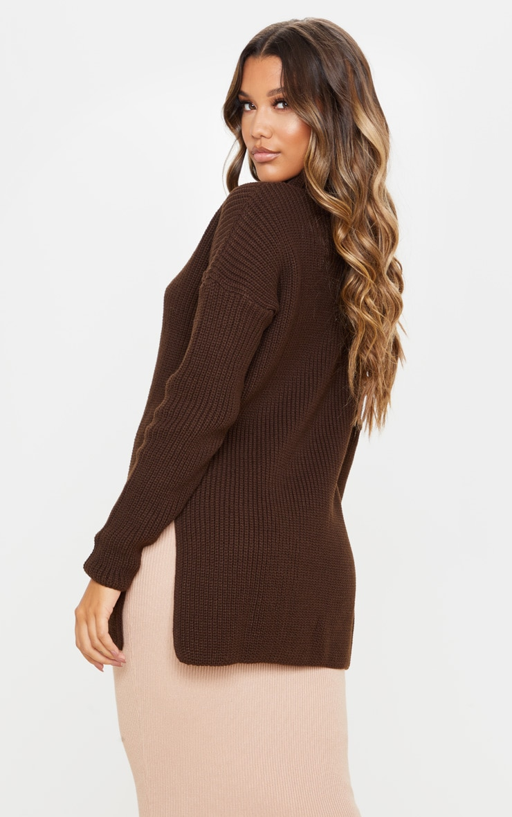 Chocolate Brown High Neck Knitted Side Split Jumper 2
