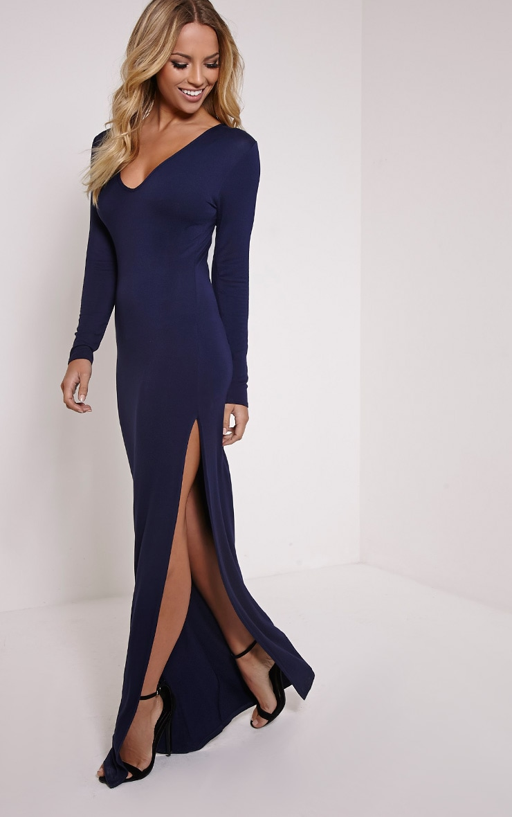Basic Navy V Neck Maxi Dress 1