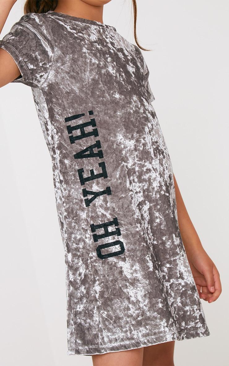 Grey Velvet T Shirt Dress 4