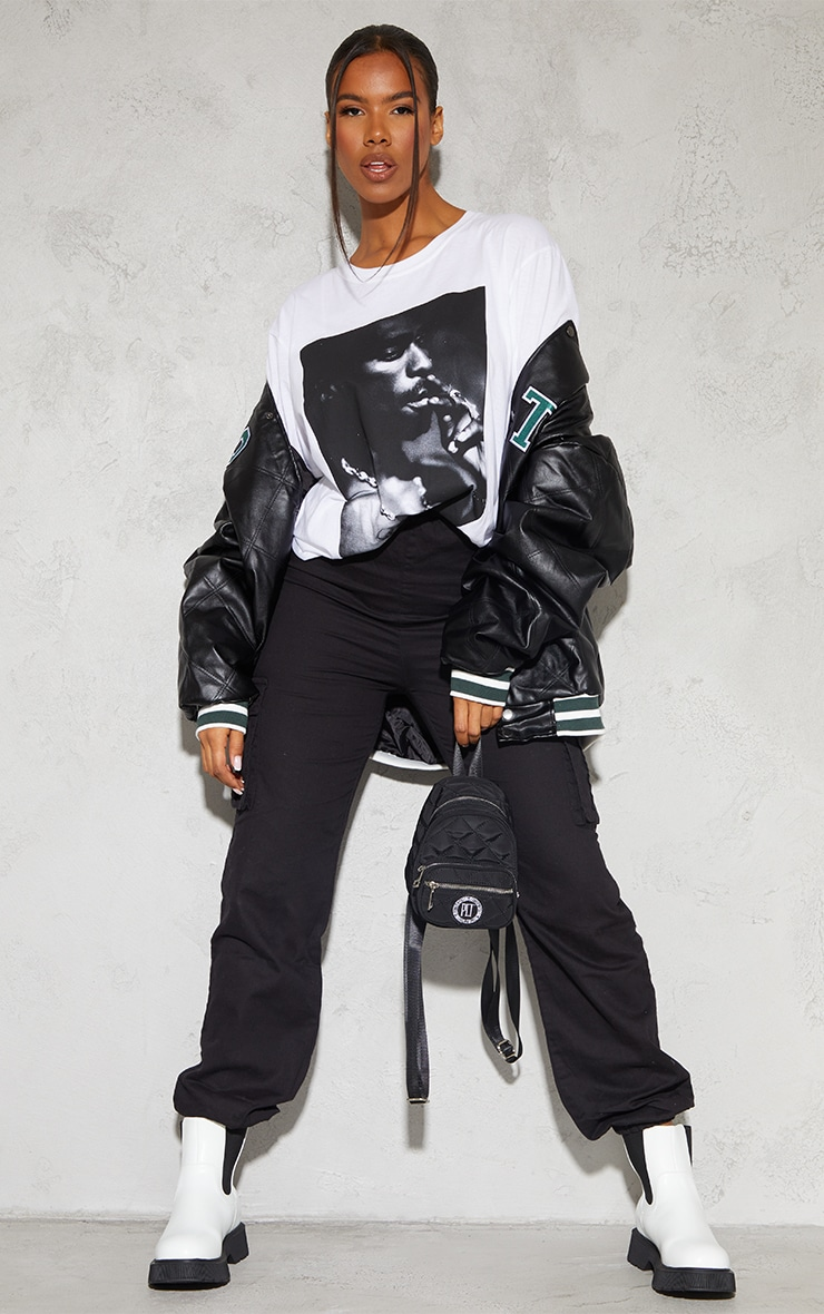 White Tupac Portrait Print T Shirt 3