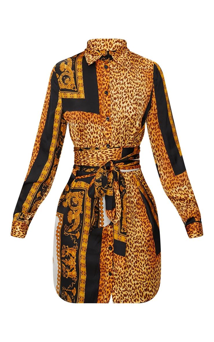 Black Leopard Tie Waist Shirt Dress 3