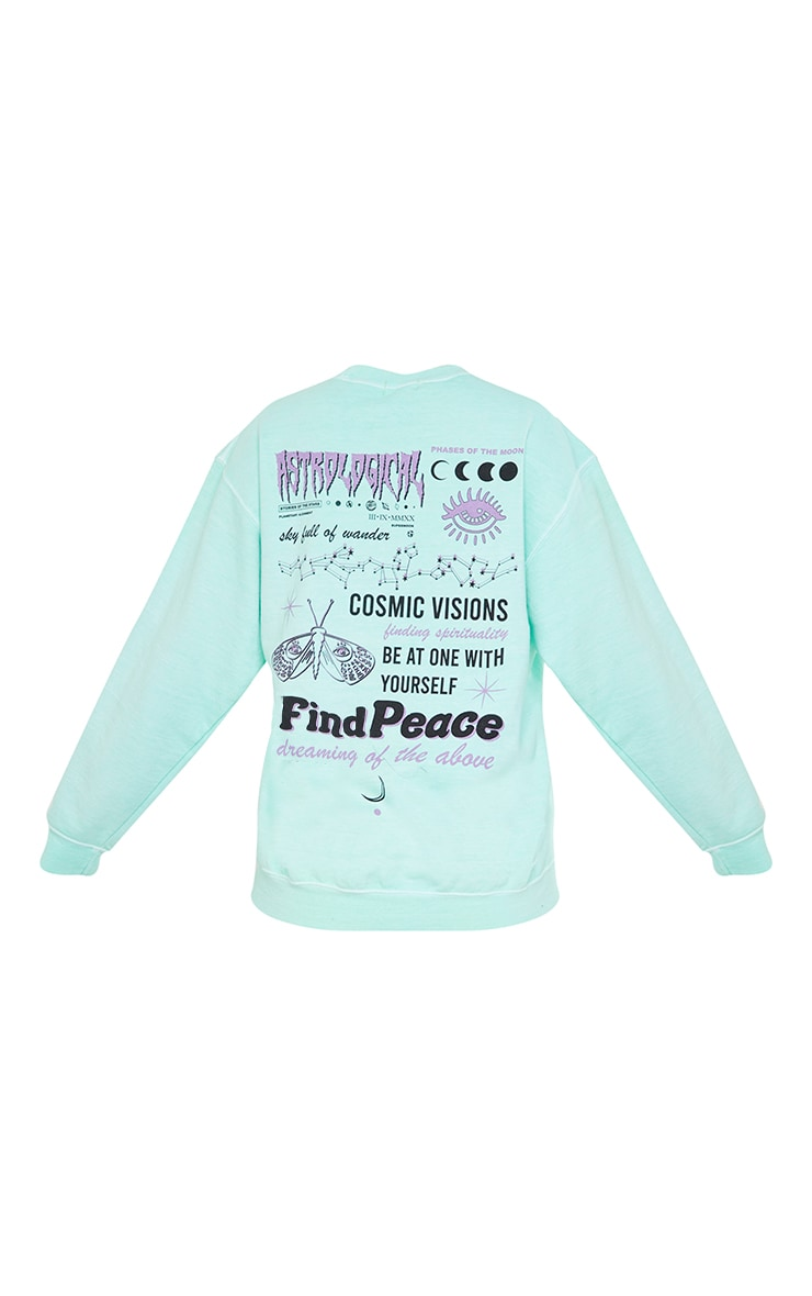 Mint Astrological Front And Back Slogan Printed Washed Sweatshirt 5