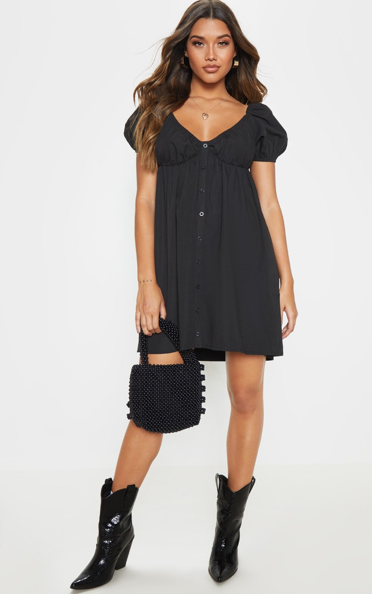 Black Button Through Ruched Shift Dress 1