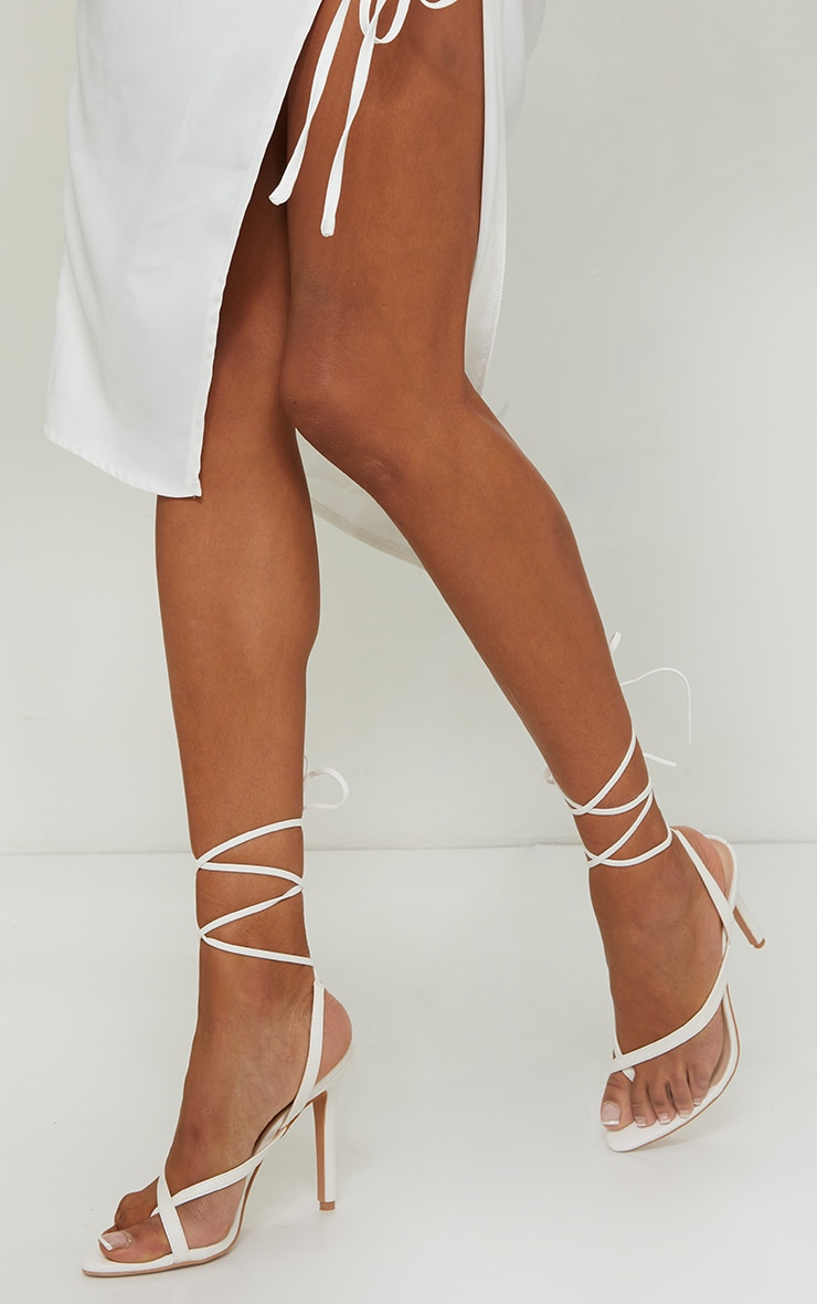 White Cross Toe Loop Ankle Strappy High Heels 1