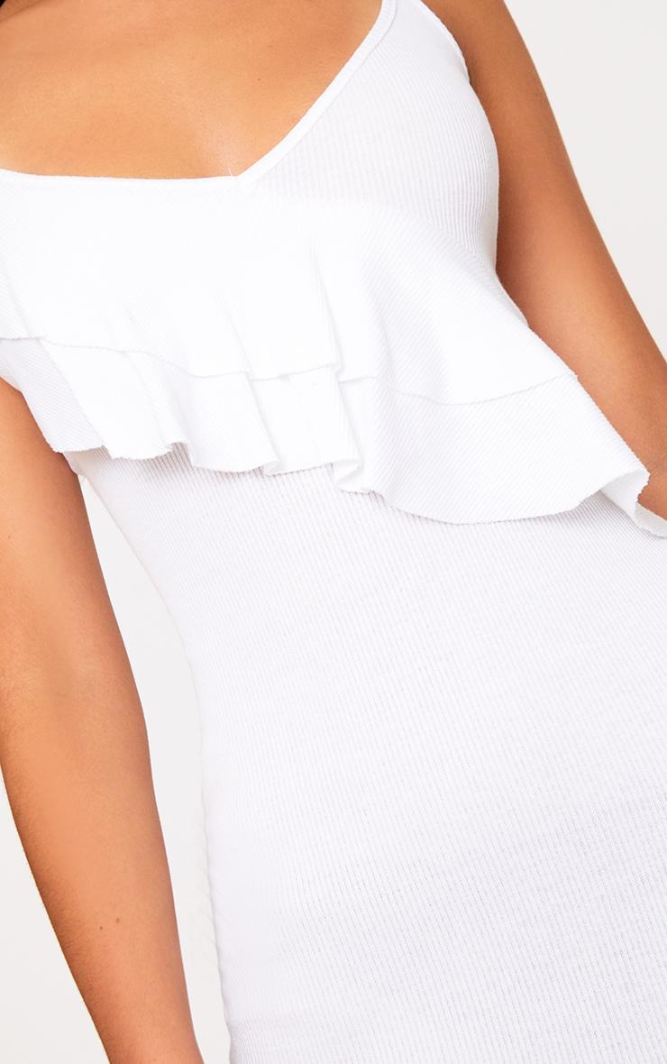 White Ruffle Front Bodycon Dress 4
