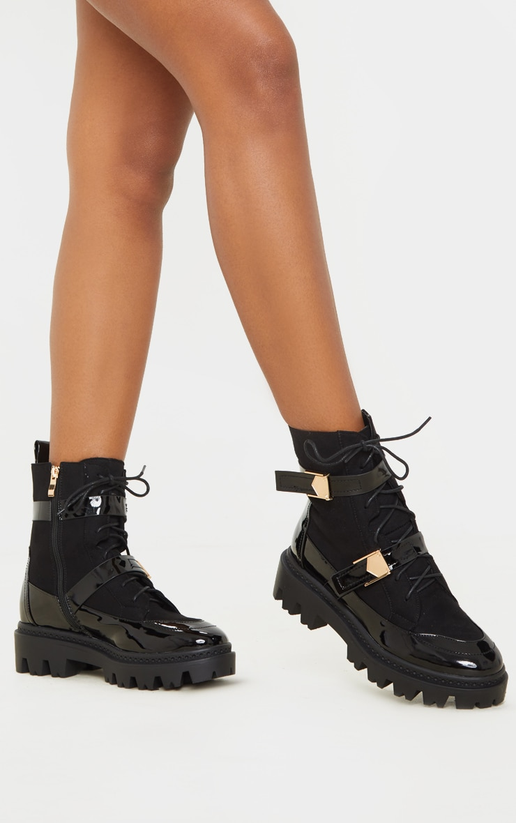Black Buckle Detailed Lace Up Cleated Ankle Boot 1