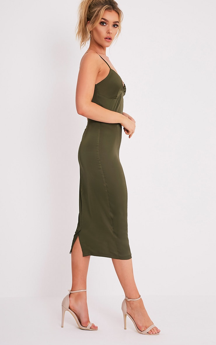 Aisha Khaki Satin Panel Midi Dress 5