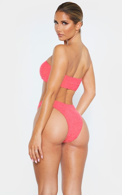 Coral Bubble Textured Bandeau Bikini Top