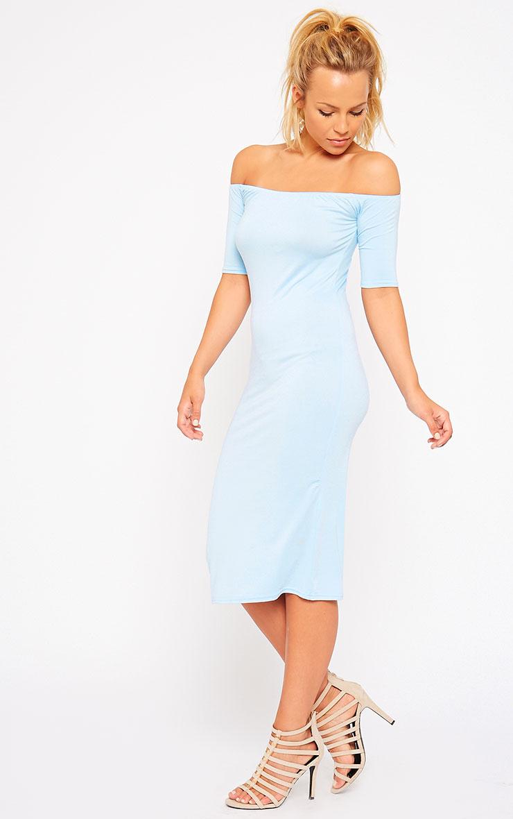 Caty Powder Blue Jersey Bardot Midi Dress 3