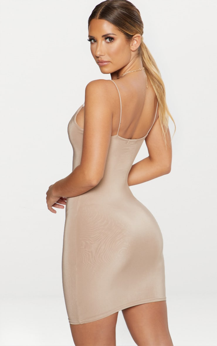 Taupe Second Skin Slinky Spaghetti Strap Bodycon Dress 2