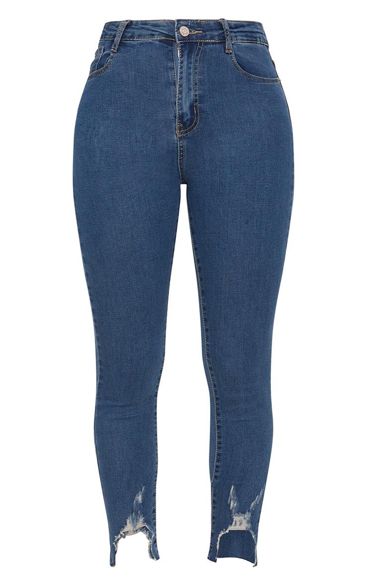 Mid Wash V Cut Hem Detail 5 Pocket Skinny Jean 3