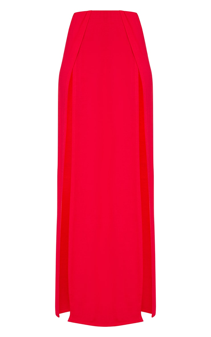Red Double Split Maxi Skirt  3