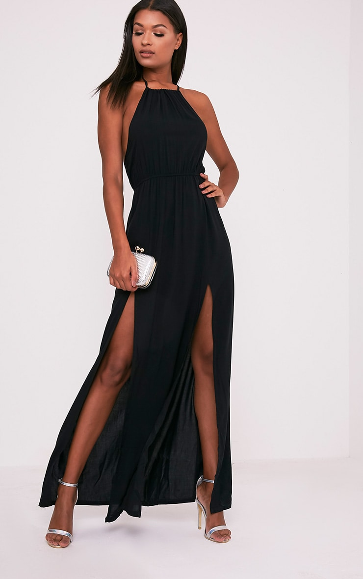 Brylee Black Halterneck Split Front Maxi Dress 1