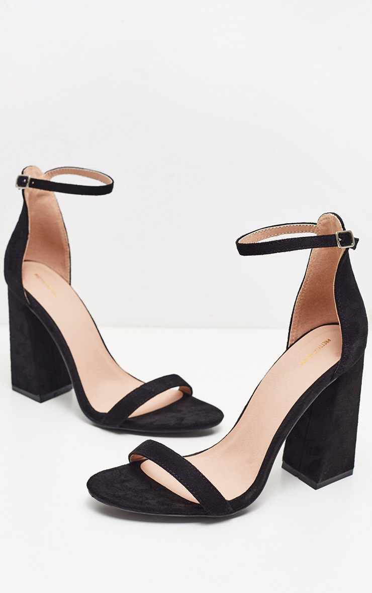 Black High Block Heel Strappy Sandal 3