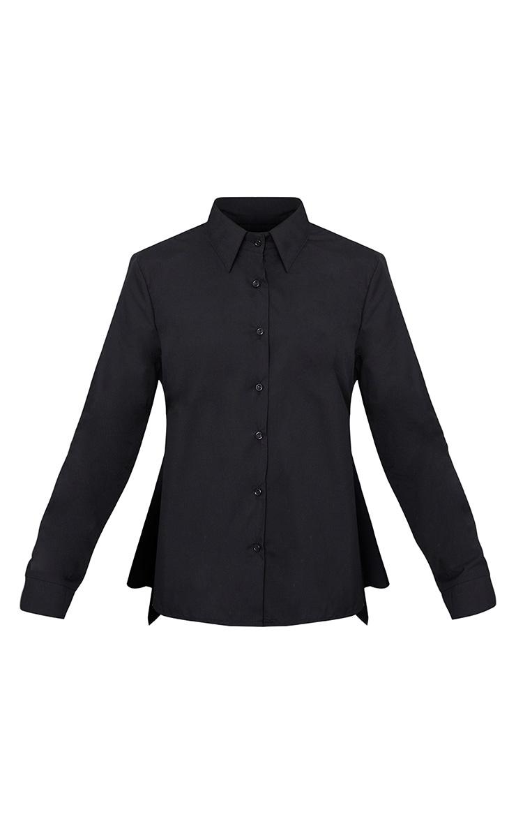 Abha Black Woven Frill Open Tie Back Shirt  3