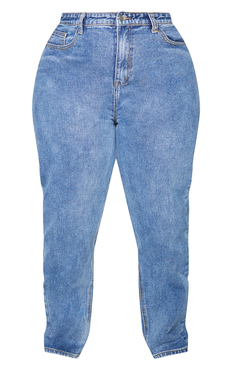 PRETTYLITTLETHING Plus Mid Blue Bum Rip Mom Jeans 5