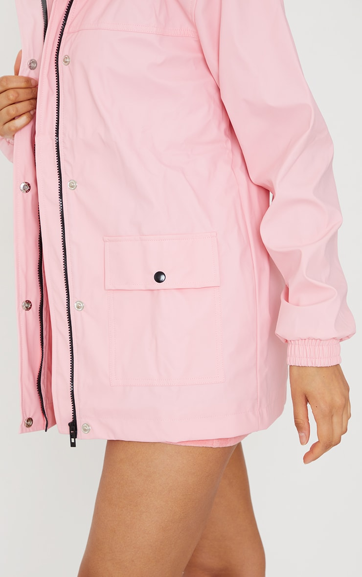 Pink Pocket Front Waterproof Rain Mac 4