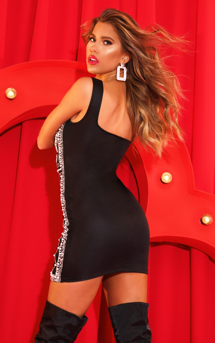 Black Beaded Sequin Bodycon Dress 2