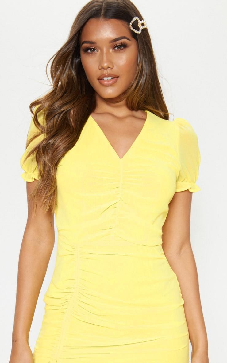 Lemon Ruched Detail Bodycon Dress 5
