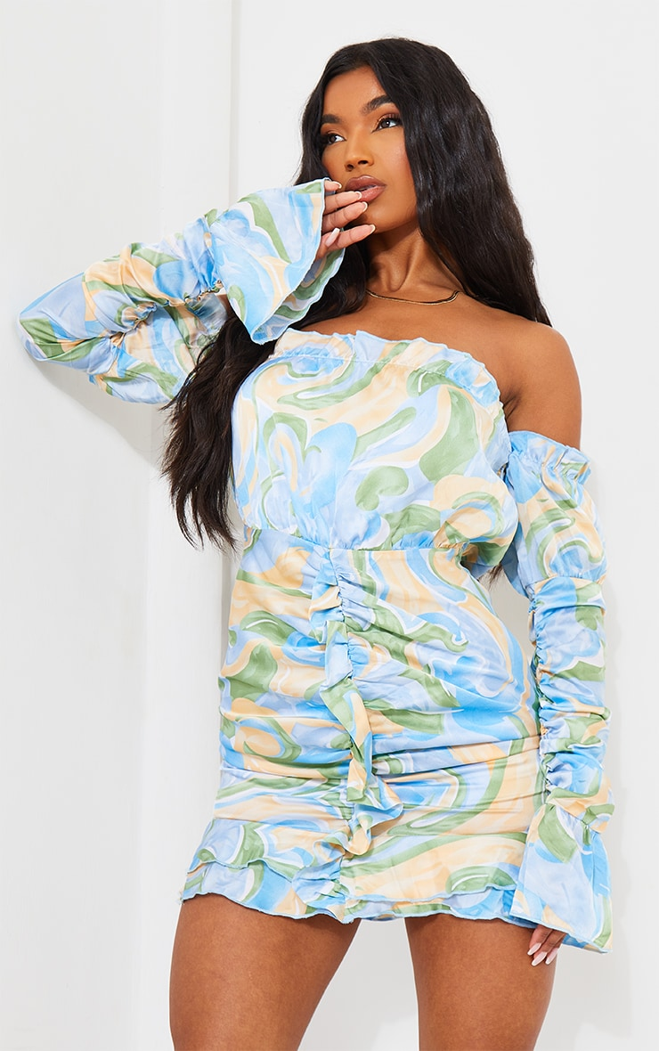 Blue Swirl Print Ruched Sleeve Bardot Bodycon Dress 1