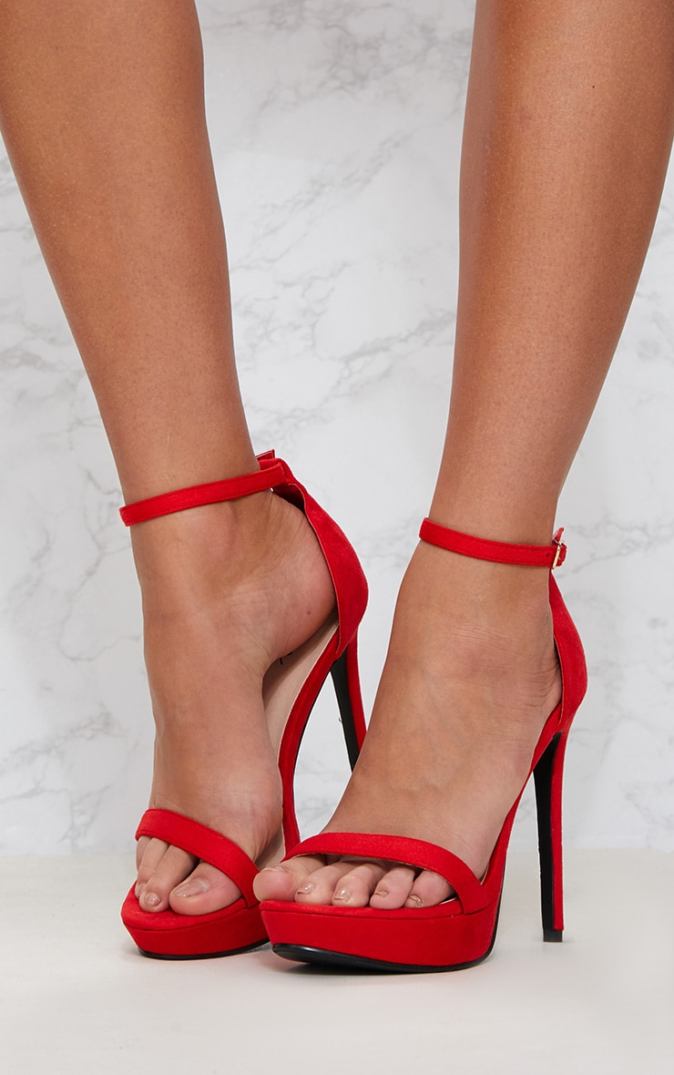 Red Platform Strap Heeled Sandal 2