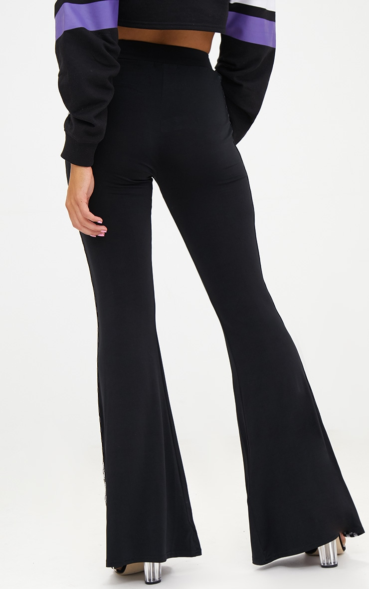 Petite Black Slinky Checkerboard Trim Flared Trousers 4