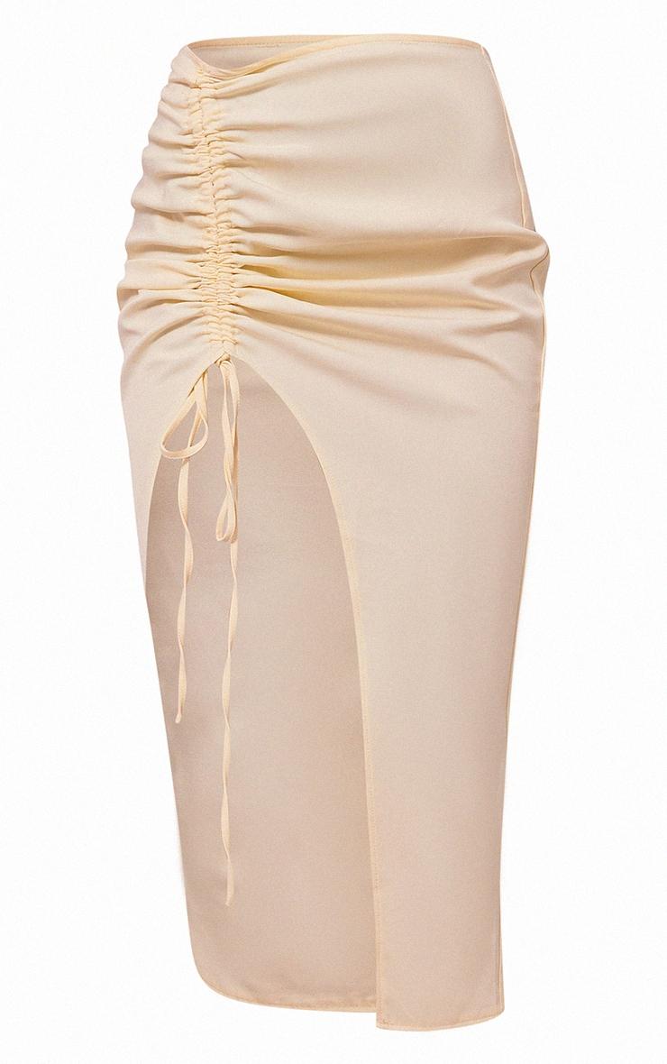 Cream Woven Ruched Tie Front Split Leg Midi Skirt 5