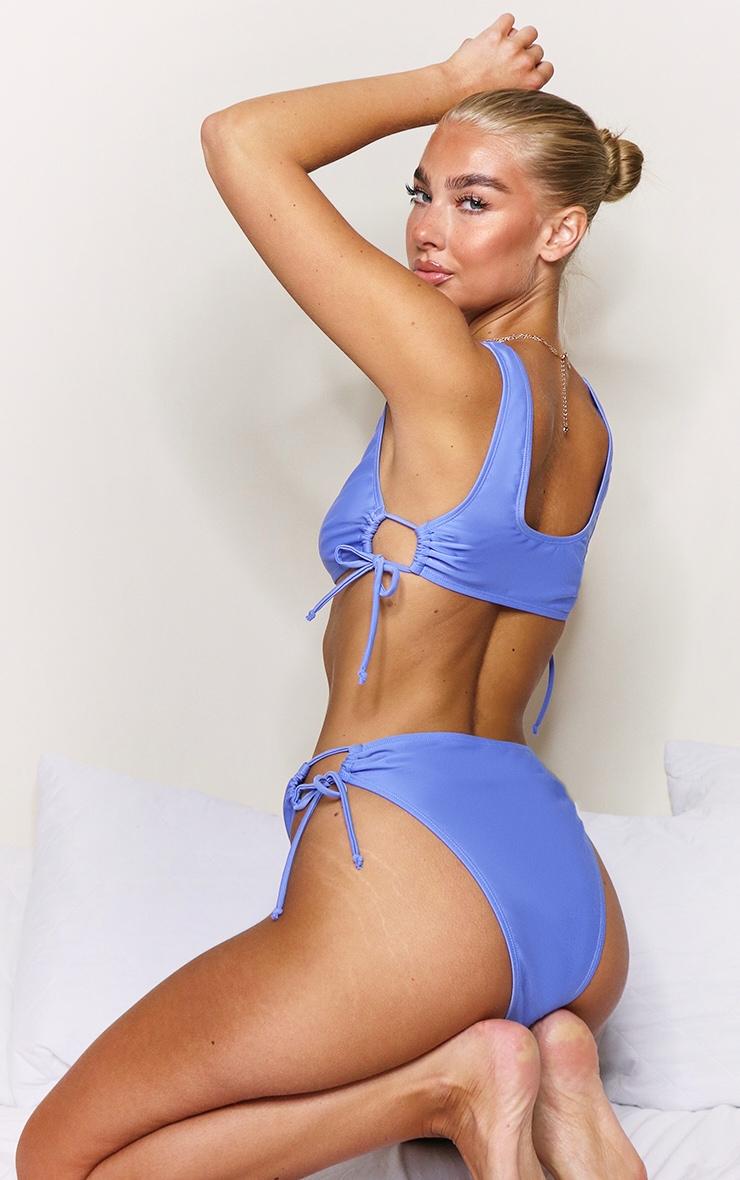 Cornflower Blue Ruched Cut Out Bikini Bottom 2