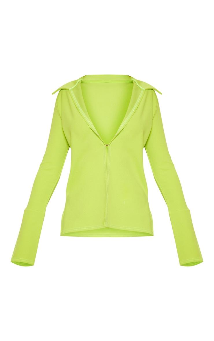 Lime Crepe Hook Front Oversized Shirt 3