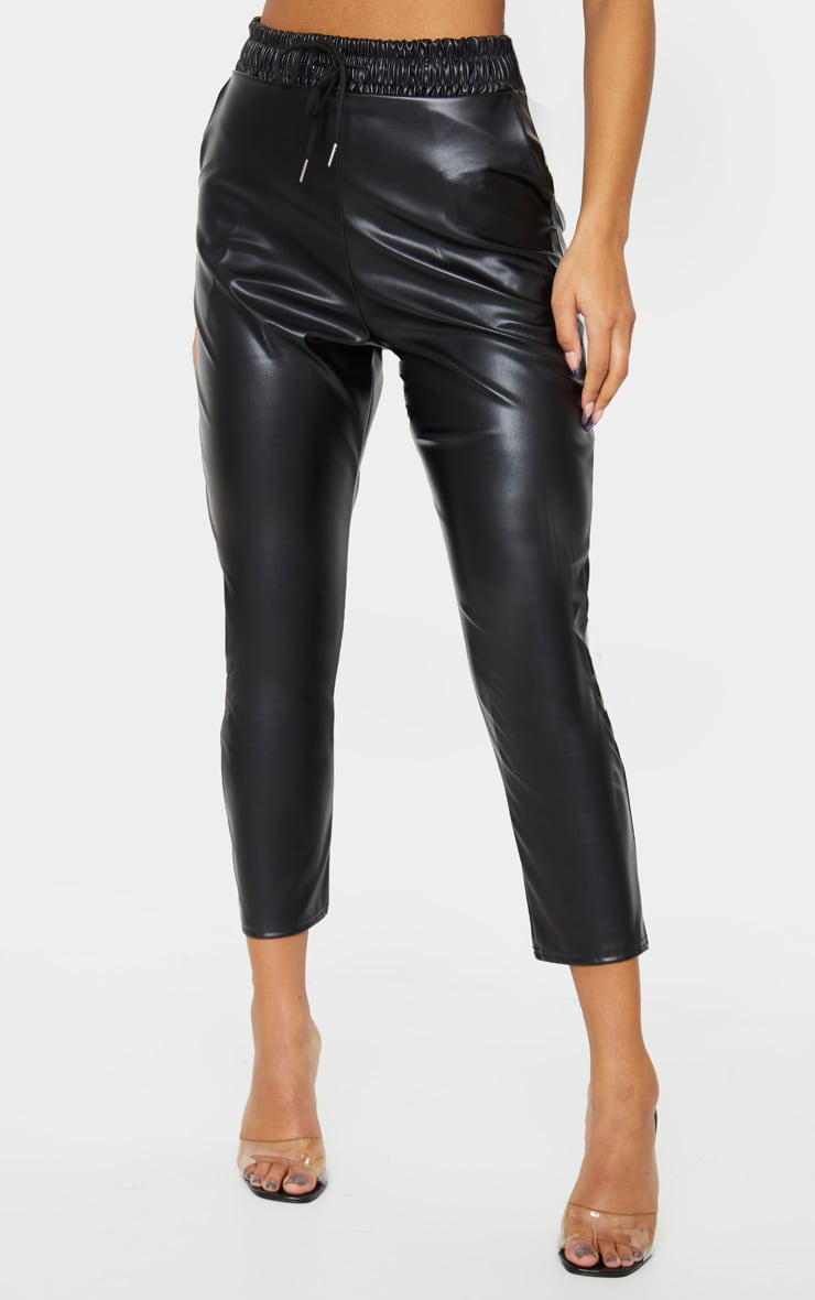 Black Faux Leather Crop Skinny Trousers 2