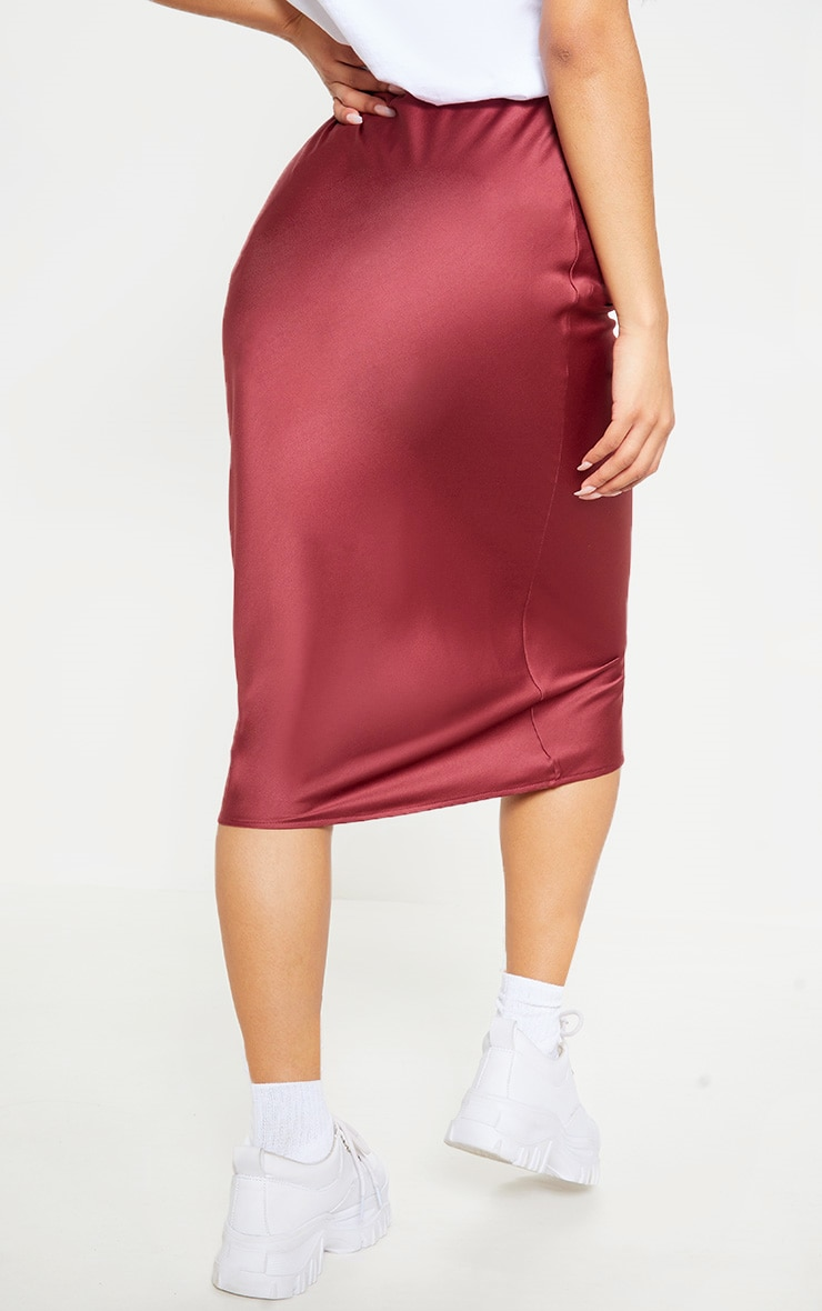 Burgundy Satin Midi Skirt  4