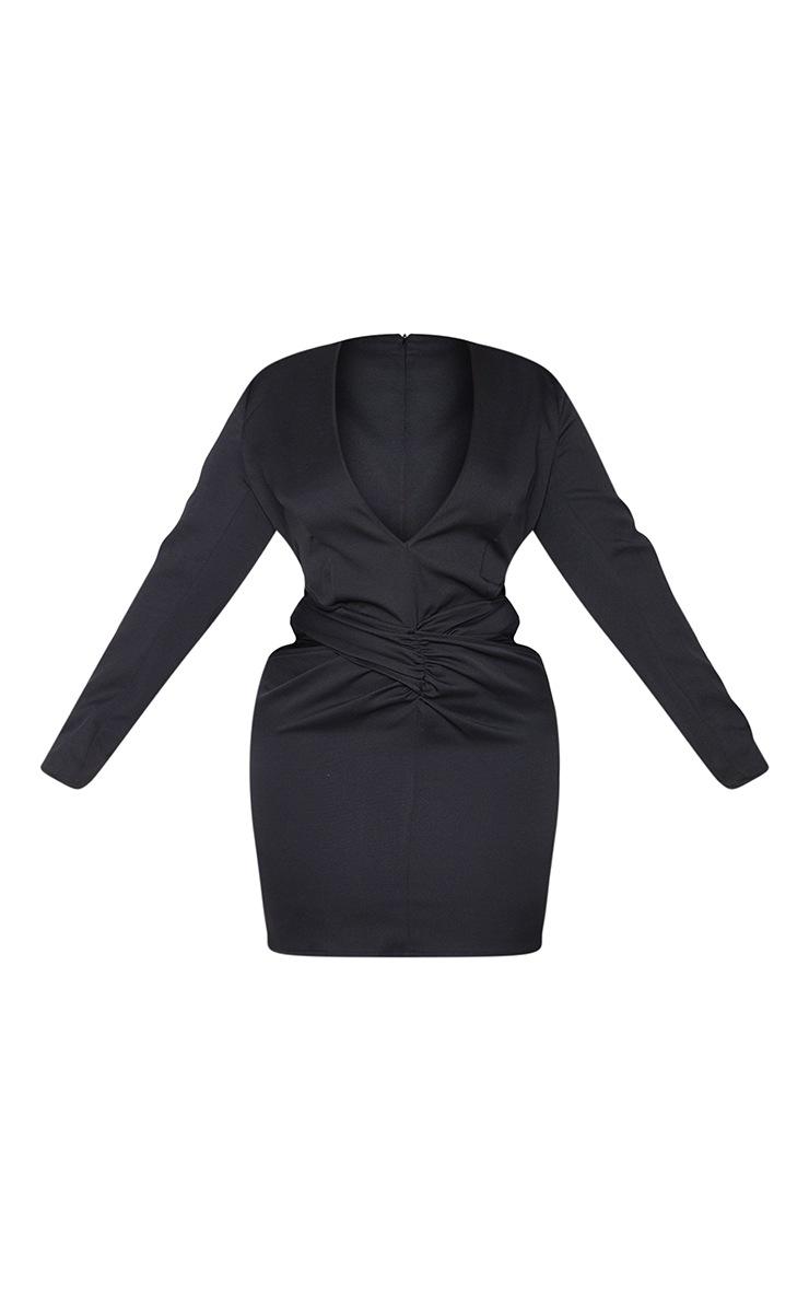 Plus Black Woven Plunge Cut Out Long Sleeve Dress 5